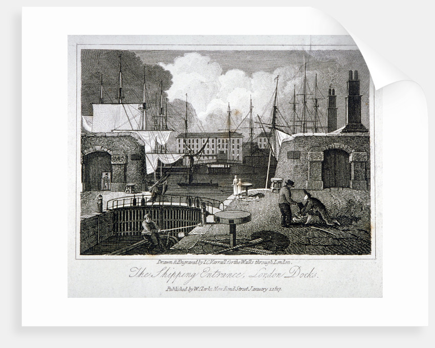 View of the shipping entrance to London Docks, Wapping by JC Varrall