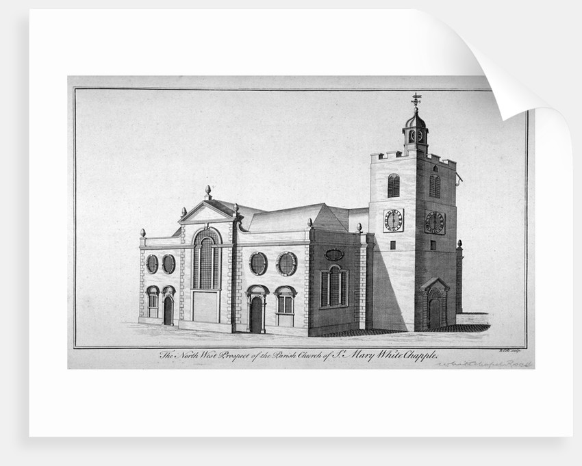North-west view of the Church of St Mary, Whitechapel, London by Benjamin Cole