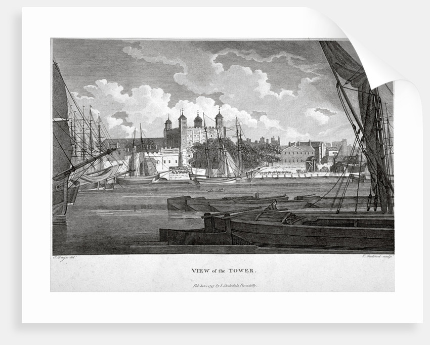 View of the Tower of London with boats on the River Thames by Philip Audinet