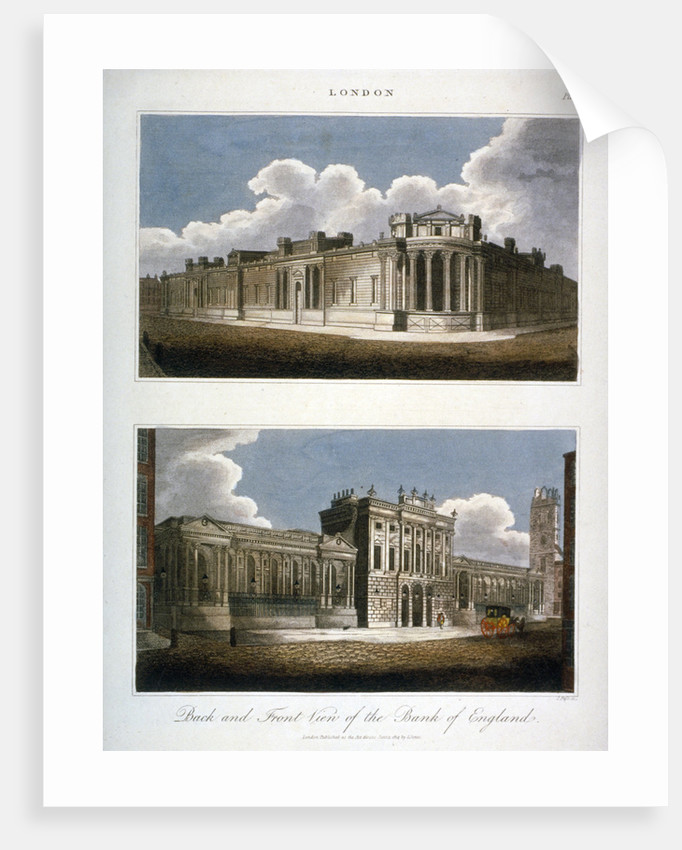 Two views of the Bank of England, City of London by J Pass