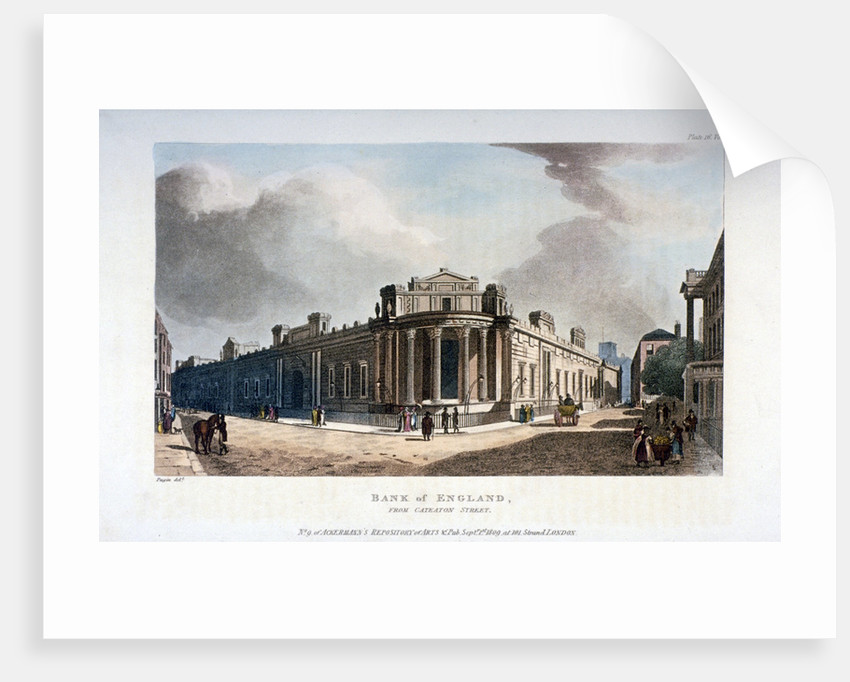 The Bank of England, from Cateaton Street, City of London by Augustus Charles Pugin