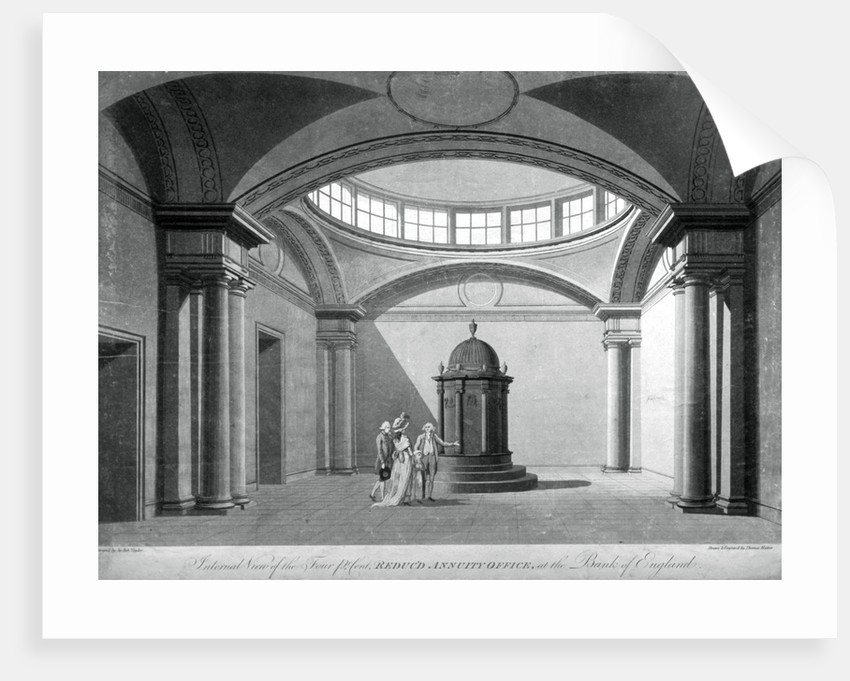 The Four Percent Reduced Annuity Office at the Bank of England, City of London by Thomas Malton II