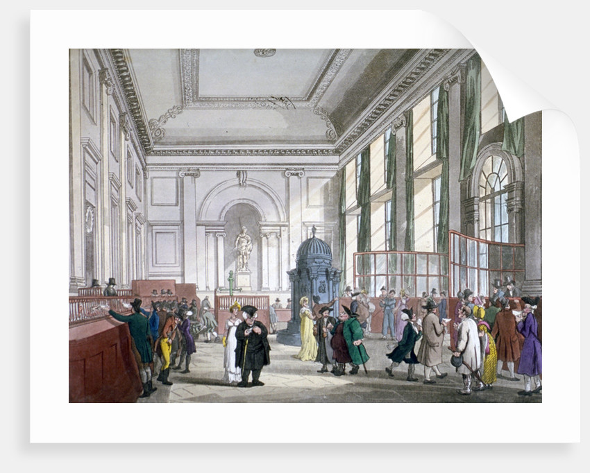 The Great Hall at Bank of England, City of London, 1809; with customers. and employees by Augustus Charles Pugin