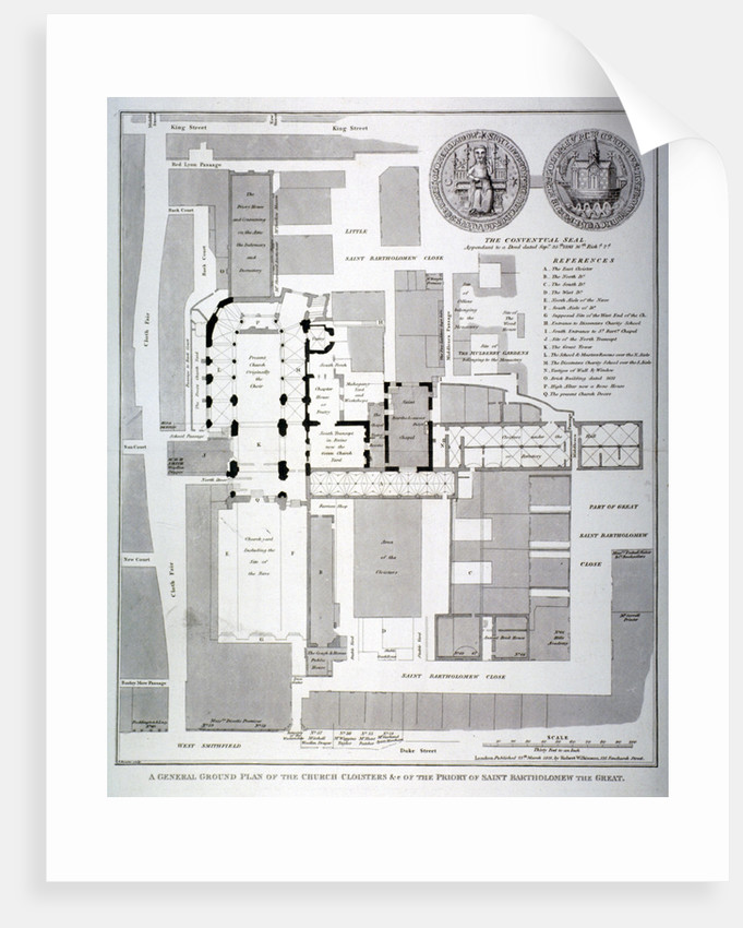 Ground plan of St Bartholomew's Priory, Smithfield, City of London by T Bourne