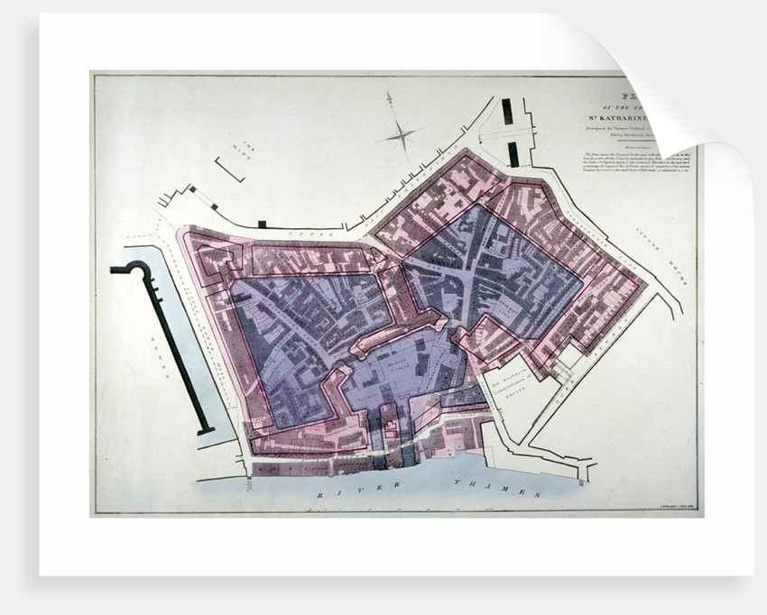 Plan of a proposal to construct a dock on the site of St Katharine's Hospital, London by Charles Joseph Hullmandel