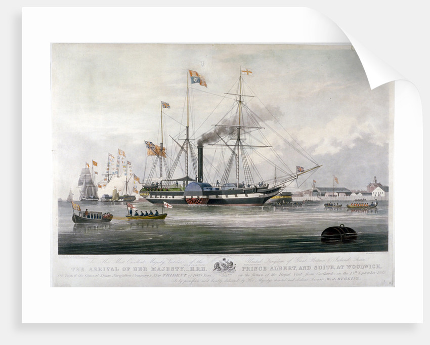 Queen Victoria and Prince Albert arriving at the Royal Dockyard, Woolwich, Kent by E Duncan