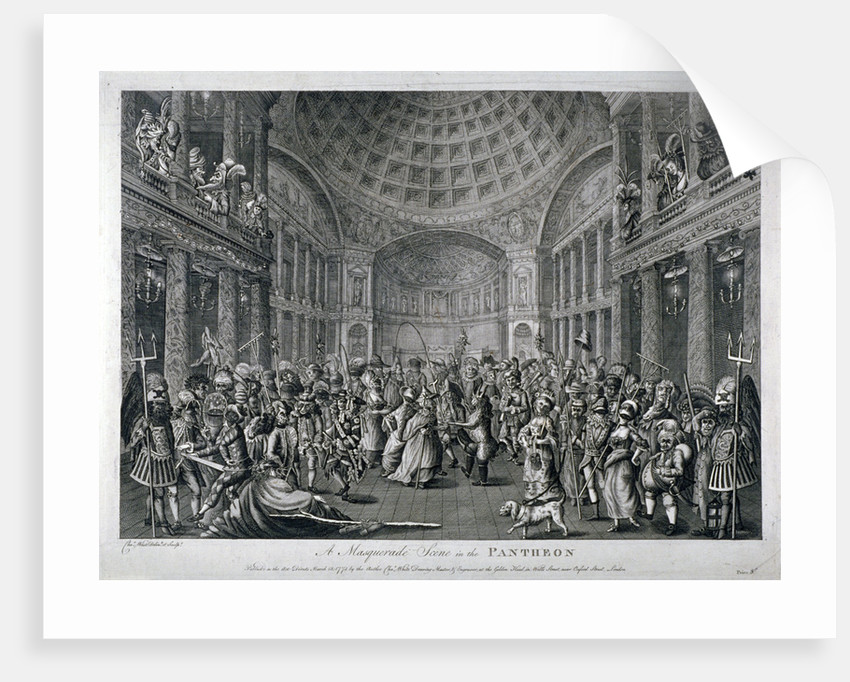 Scene of a masquerade at the Pantheon, Oxford Street, Westminster, London by Charles White