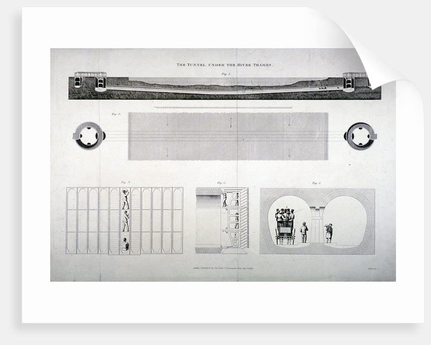 Plan, sections and elevations of the Thames Tunnel, London by E Turrell