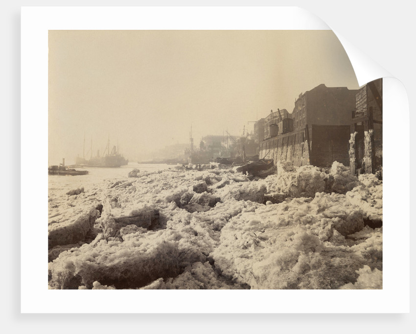 View of the Thames above Limehouse, London, during the frost of February 1895. by Anonymous