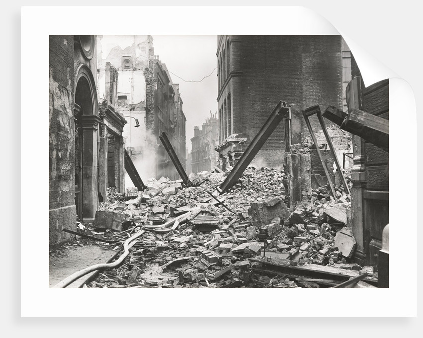 View looking south down Walbrook after an air raid, City of London, World War II by Anonymous