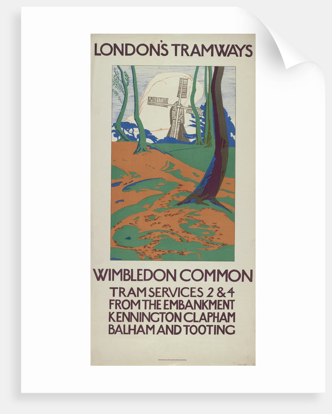 Wimbledon Common, London County Council (LCC) Tramways poster by GW Widmer
