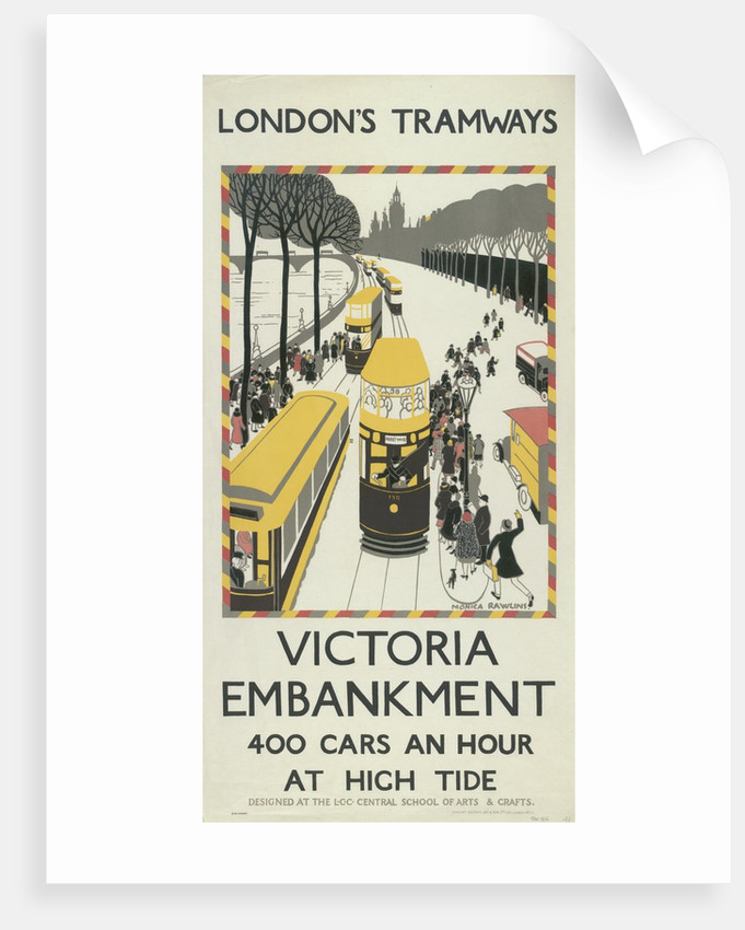 Victoria Embankment, London County Council (LCC) Tramways poster by Monica Rawlins