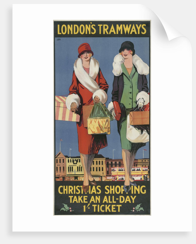 Christmas Shopping, Take an All-Day 1/- Ticket, London County Council (LCC) Tramways poster by Tony Castle