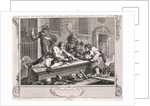 The idle 'prentice at play in the church yard...', plate III of Industry and Idleness 1747 by