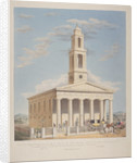 North west view of St George, Camberwell with figures in the front. Camberwell, London by Charles Joseph Hullmandel