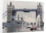 View of HMS London sailing beneath Tower Bridge, London by Anonymous
