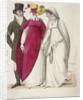 Two women wearing walking dresses accompanied by a man by W Read