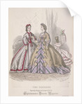 Two women and a child playing with a parrot model the latest fashions, 1864 by Anonymous