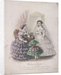 Two women and a child wearing the latest fashions by Anonymous