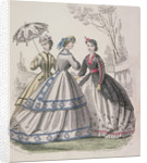 Three women wearing the latest fashions, one of the women is shading herself with a parasol by Anonymous