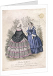 Two women wearing the latest fashions in a garden setting by Anonymous