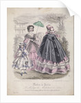 Two women and a child wearing the latest fashions in a garden setting by Anonymous