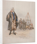Ward Beadle in civic costume, holding a staff, at a Wardmote Inquest by William Henry Pyne