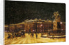 View of snow falling at Charing Cross at night by Anonymous