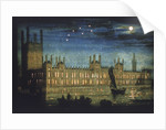 View of the River Thames and Palace of Westminster at night by Anonymous
