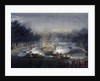 View of a sham fight on the Serpentine, Hyde Park, London by