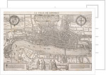 Map of the City of London and City of Westminster with four figures in the foreground by Anonymous