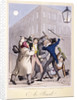 View of a street fight scene at night, City of Westminster, London by Anonymous