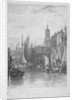 View of Billingsgate wharf with boats, City of London by Augustus Wall Callcott