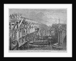 Temporary  wooden bridge over the River Thames at Blackfriars, London by