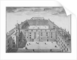 Bird's-eye view of Bridewell with figures walking in the quadrangle, City of London by Sutton Nicholls
