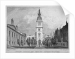 West view of Christ Church, Newgate Street, with part of Christ's Hospital, City of London by WS Wilkinson