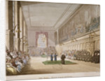 Interior view of the hall of Christ's Hospital, with an event taking place, City of London by