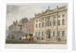 View of Ironmongers' Hall and people and a coach in Fenchurch Street, City of London by Anonymous