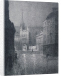 Nocturnal view of the Guildhall from the corner of Gresham Street, City of London by