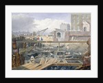 View of the foundations being dug for the first arch of London Bridge by Anonymous