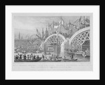 London Bridge, with the Lord Mayor's procession passing under the unfinished arches by Thomas Higham