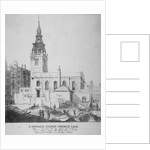 South-east view of the Church of St Michael, Crooked Lane, City of London by Anonymous