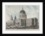 South-east view of St Paul's Cathedral with figures and carriages outside, City of London by