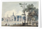 Exterior view of Old Bethlehem Hospital, Moorfields, City of London by George Arnald