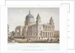 North-west view of St Paul's Cathedral with figures walking in front, City of London by Sir Christopher Wren