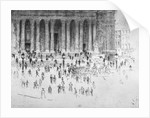 Steps outside the west front of St Paul's Cathedral, City of London by Joseph Pennell