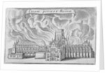 Old St Paul's Cathedral burning in the Great Fire of London by Wenceslaus Hollar