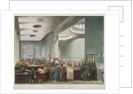 Interior view of Lloyds Subscription Room in the Royal Exchange, City of London by