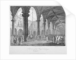 Interior view of the Royal Exchange with figures in the courtyard, City of London by John Greig