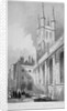 View of St Sepulchre Church from Skinner Street, City of London by John Le Keux